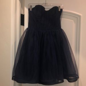 Alice + Olivia Navy Chiffon Cocktail Dress NWOT